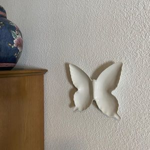 Vintage White Butterfly Dish